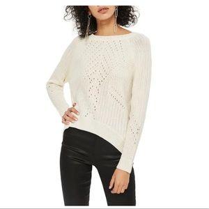 TOPSHOP Rib & Pointelle Stitch Sweater size 6